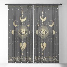 L' Imperatrice or The Empress Tarot Gold Sheer Curtain