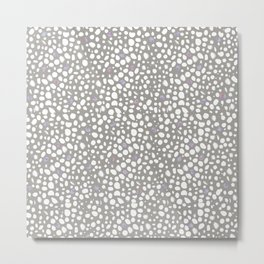 Leopard print pattern with watercolor shining dots grey white backround Metal Print