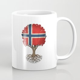 Vintage Tree of Life with Flag of Norway Coffee Mug