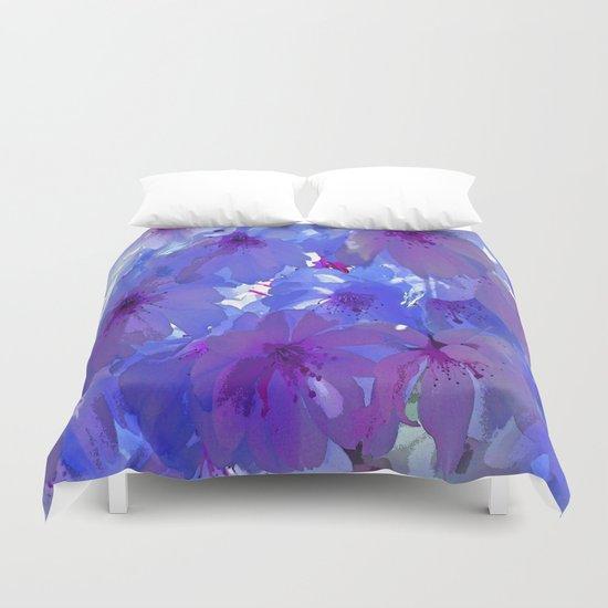 Blue Cherry Blossoms Duvet Cover