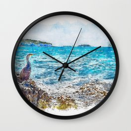 Aquarelle sketch art. Cormorant on the rocky beach in Istria, Croatian coast Wall Clock