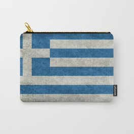Flag of Greece, vintage retro style Carry-All Pouch