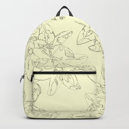 yellow line art floral pattern Backpack