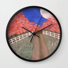 Cherry Blossom Pathway Wall Clock
