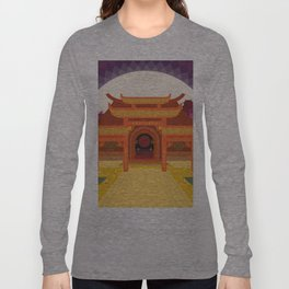 full moon vector japanese temple Long Sleeve T-shirt