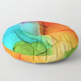 Rainbow Ink Painting Floor Pillow
