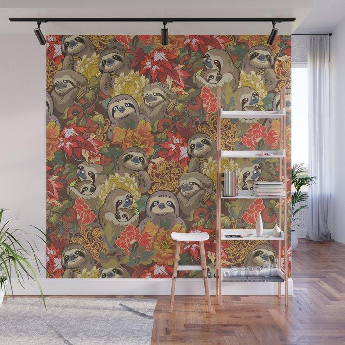 Because Sloths Autumn Wall Mural by huebucket Society6