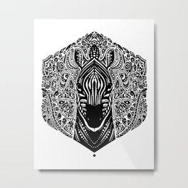 Zebra Mandala Metal Print
