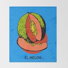 El Melon Mexican Loteria Card Throw Blanket