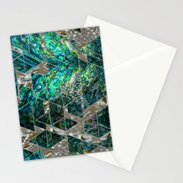 Abstract Geometric Abalone and Mother of pearl Stationery Cards