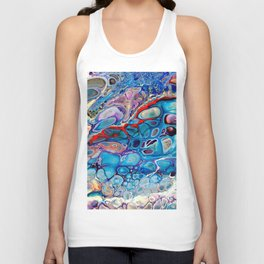 Marbled Stone Look Abstract Art Blue Purple Red Unisex Tank Top