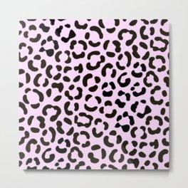 Trendy Black & Pink Leopard Fur Effect Pattern Metal Print