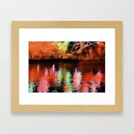 Fireworks On The River Framed Art Print
