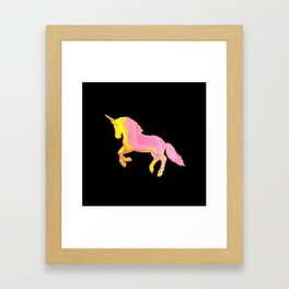 Pink and Gold unicorn on black by Jess Cargill Framed Art Print