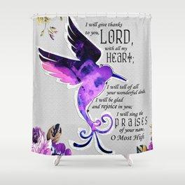 Hummingbird Psalm 9:1-2 Scripture Purple Abstract Collage Art Shower Curtain