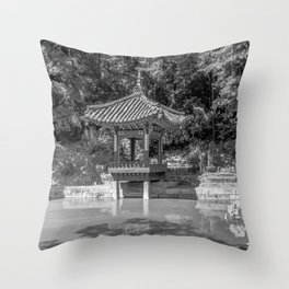 The aeryeonjeong in the Aeryeonji Pond of the secret garden - Changdeokgung Palace Throw Pillow