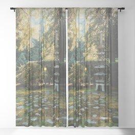 Peaceful Japanese Garden Sheer Curtain