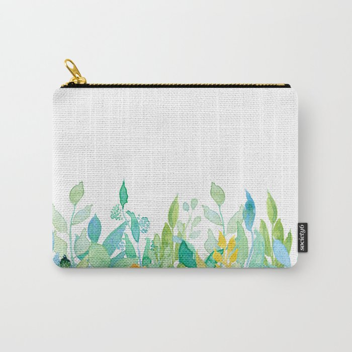 flowers in a meadow - Floral watercolor illustration on white background Carry-All Pouch