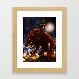 Zombie on Warewolf Framed Art Print