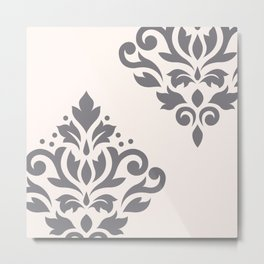 Scroll Damask Art I Grey on Cream Metal Print