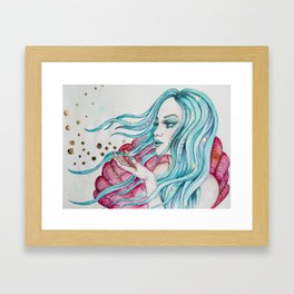 Watercolor mermaid fantasy art Framed Art Print