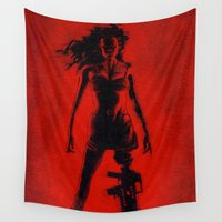 tarantino Wall Tapestries featuring Cherry Darling by Rouble Rust