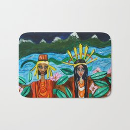 Adam and Eve with the snake in the paradise  by Jana Sigüenza Bath Mat
