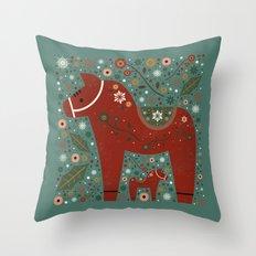 Jolly Dala Horse  Throw Pillow