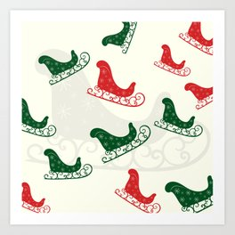 Sled Pattern Green and Red on a Ivory Background Art Print