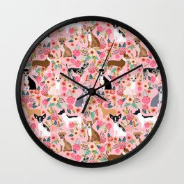 Chihuahua floral dog breed cute pet gifts for chiwawa lovers chihuahuas owners Wall Clock