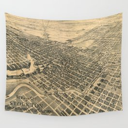 Vintage Pictorial Map of Stockton California (1895) Wall Tapestry