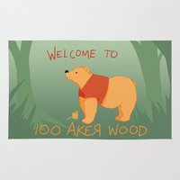 pooh Area & Throw Rugs featuring Pooh Bear by Ray Elaine