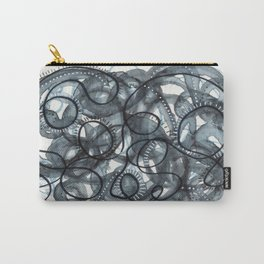 Grey Black and White Swirls Carry-All Pouch