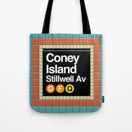subway coney island sign Tote Bag