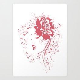 Vintage Girl With Flowers Art Print