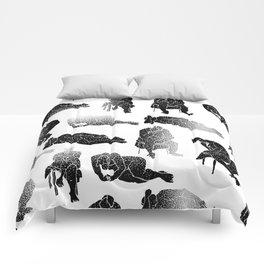 b&w fading figures Comforters