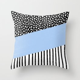 Polka Dots and Stripes Pattern (black/white/blue) Throw Pillow