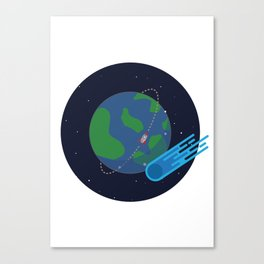 Earth Meteor Space Print Canvas Print