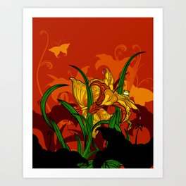Jungle Lilies Art Print