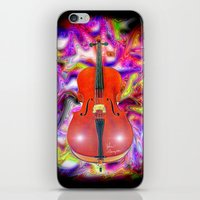 cello iPhone & iPod Skins featuring Psychedelic Cello by JT Digital Art