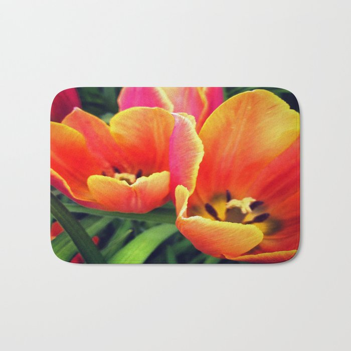 Coral Tulips in Bloom Bath Mat