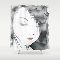 geisha Shower Curtains featuring Geisha by Nxolab