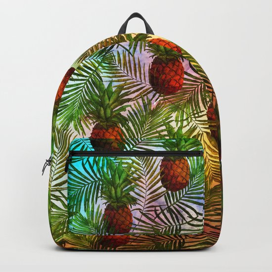 Pineapples - Tropical fruit watercolor illustration pattern Backpack