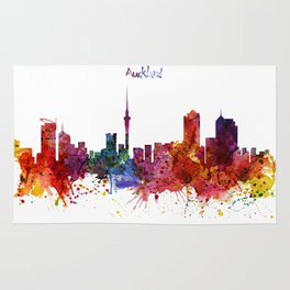 Auckland Watercolor Skyline Rug