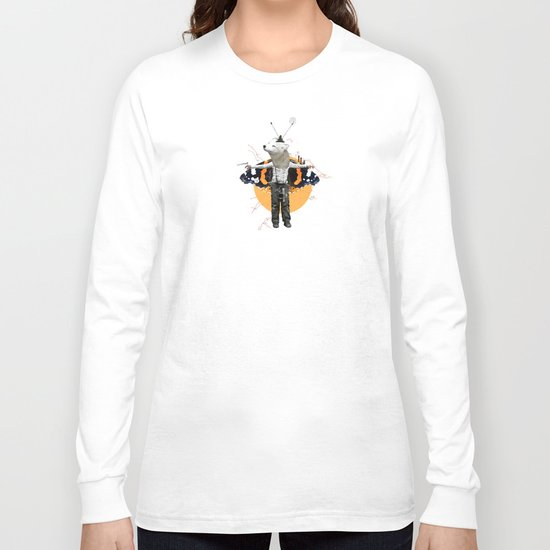 White Urban Illusion City Fox Kid Collage Long Sleeve T-shirt