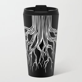 Tree Root Drawing (white on black) Travel Mug