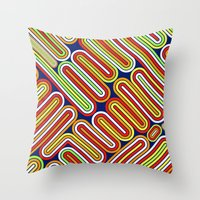 70s Throw Pillows featuring 70s Kitsch by Roberlan Borges