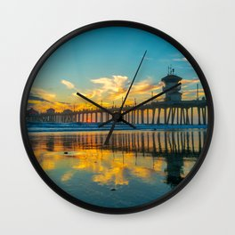 Reflections of Huntington Sunset Wall Clock