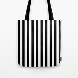Black and White Even Small Stripes Tote Bag