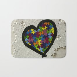 Autism Awareness Heart Bath Mat